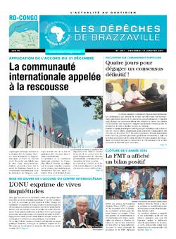 Les Dépêches de Brazzaville : Édition kinshasa du 13 janvier 2017