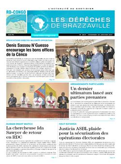 Les Dépêches de Brazzaville : Édition kinshasa du 20 janvier 2017