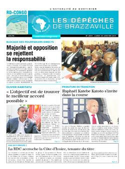 Les Dépêches de Brazzaville : Édition kinshasa du 23 janvier 2017