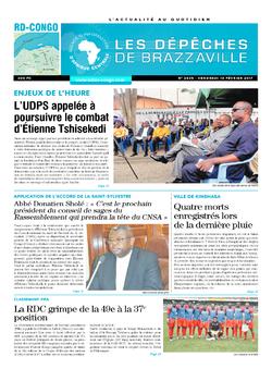Les Dépêches de Brazzaville : Édition kinshasa du 10 février 2017