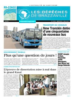Les Dépêches de Brazzaville : Édition kinshasa du 03 mai 2017