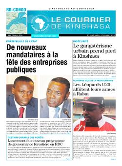 Les Dépêches de Brazzaville : Édition le courrier de kinshasa du 17 juillet 2017