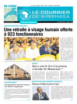 Les Dépêches de Brazzaville : Édition le courrier de kinshasa du 03 août 2017