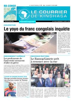 Les Dépêches de Brazzaville : Édition le courrier de kinshasa du 04 août 2017