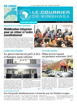 Les Dépêches de Brazzaville : Édition le courrier de kinshasa du 21 août 2017