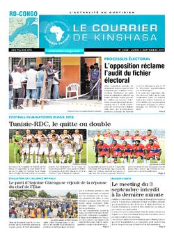 Les Dépêches de Brazzaville : Édition le courrier de kinshasa du 04 septembre 2017