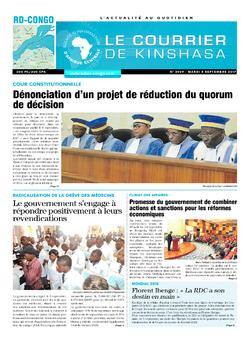 Les Dépêches de Brazzaville : Édition le courrier de kinshasa du 05 septembre 2017