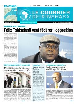 Les Dépêches de Brazzaville : Édition le courrier de kinshasa du 07 septembre 2017