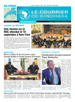 Les Dépêches de Brazzaville : Édition le courrier de kinshasa du 08 septembre 2017