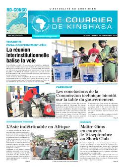 Les Dépêches de Brazzaville : Édition le courrier de kinshasa du 12 septembre 2017