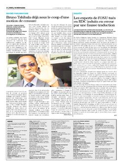 Les Dépêches de Brazzaville : Édition le courrier de kinshasa du 15 septembre 2017