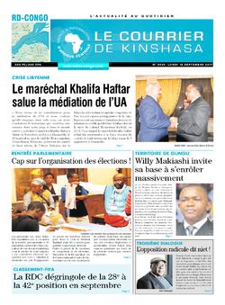 Les Dépêches de Brazzaville : Édition le courrier de kinshasa du 18 septembre 2017