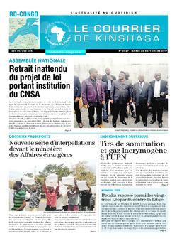 Les Dépêches de Brazzaville : Édition le courrier de kinshasa du 26 septembre 2017