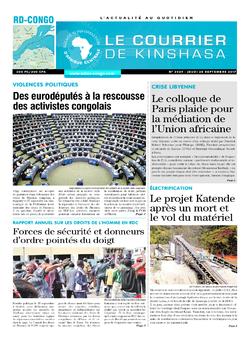 Les Dépêches de Brazzaville : Édition le courrier de kinshasa du 28 septembre 2017