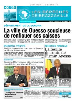 Les Dépêches de Brazzaville : Édition brazzaville du 29 septembre 2017