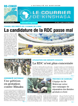 Les Dépêches de Brazzaville : Édition le courrier de kinshasa du 09 octobre 2017