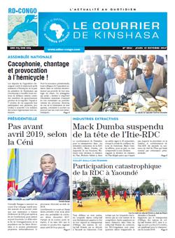 Les Dépêches de Brazzaville : Édition le courrier de kinshasa du 12 octobre 2017