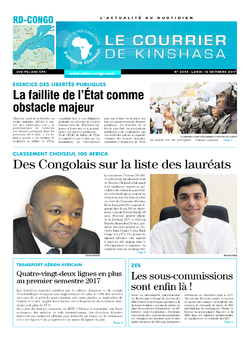 Les Dépêches de Brazzaville : Édition le courrier de kinshasa du 16 octobre 2017
