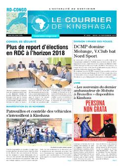 Les Dépêches de Brazzaville : Édition le courrier de kinshasa du 30 novembre 2017