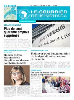 Les Dépêches de Brazzaville : Édition le courrier de kinshasa du 05 décembre 2017