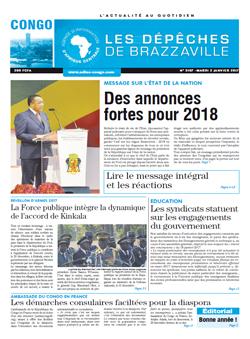 Les Dépêches de Brazzaville : Édition brazzaville du 02 janvier 2018