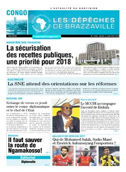 Les Dépêches de Brazzaville : Édition brazzaville du 04 janvier 2018