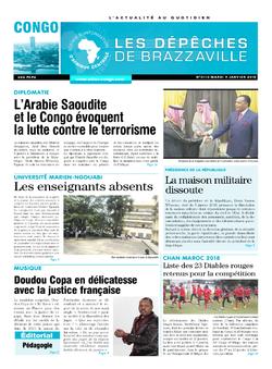 Les Dépêches de Brazzaville : Édition brazzaville du 09 janvier 2018