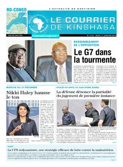 Les Dépêches de Brazzaville : Édition le courrier de kinshasa du 11 janvier 2018