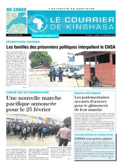 Les Dépêches de Brazzaville : Édition le courrier de kinshasa du 12 février 2018