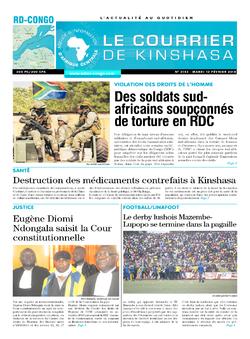 Les Dépêches de Brazzaville : Édition le courrier de kinshasa du 13 février 2018