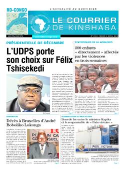 Les Dépêches de Brazzaville : Édition le courrier de kinshasa du 03 avril 2018