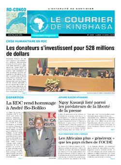 Les Dépêches de Brazzaville : Édition le courrier de kinshasa du 16 avril 2018