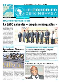 Les Dépêches de Brazzaville : Édition le courrier de kinshasa du 26 avril 2018