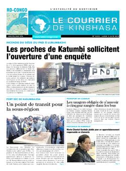 Les Dépêches de Brazzaville : Édition le courrier de kinshasa du 04 juin 2018