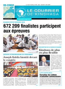 Les Dépêches de Brazzaville : Édition le courrier de kinshasa du 19 juin 2018