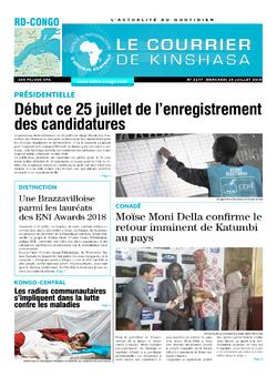 Les Dépêches de Brazzaville : Édition le courrier de kinshasa du 25 juillet 2018