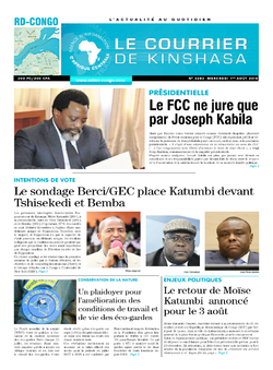 Les Dépêches de Brazzaville : Édition le courrier de kinshasa du 01 août 2018