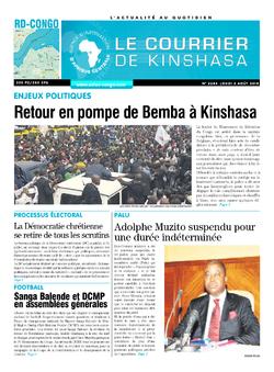 Les Dépêches de Brazzaville : Édition le courrier de kinshasa du 02 août 2018