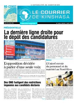 Les Dépêches de Brazzaville : Édition le courrier de kinshasa du 07 août 2018