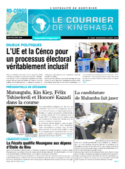 Les Dépêches de Brazzaville : Édition le courrier de kinshasa du 08 août 2018