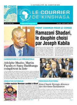 Les Dépêches de Brazzaville : Édition le courrier de kinshasa du 09 août 2018