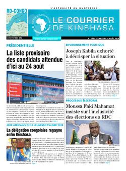 Les Dépêches de Brazzaville : Édition le courrier de kinshasa du 10 août 2018
