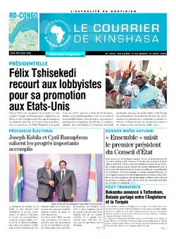 Les Dépêches de Brazzaville : Édition le courrier de kinshasa du 13 août 2018