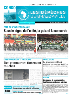 Les Dépêches de Brazzaville : Édition brazzaville du 17 août 2018