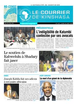 Les Dépêches de Brazzaville : Édition brazzaville du 20 août 2018