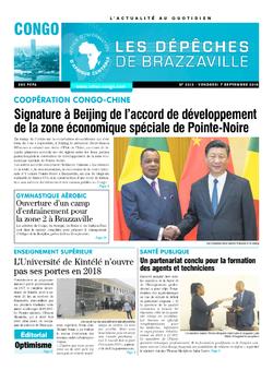 Les Dépêches de Brazzaville : Édition brazzaville du 07 septembre 2018