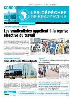 Les Dépêches de Brazzaville : Édition brazzaville du 10 septembre 2018