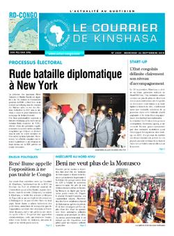 Les Dépêches de Brazzaville : Édition le courrier de kinshasa du 26 septembre 2018