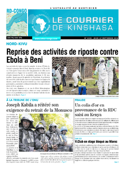 Les Dépêches de Brazzaville : Édition le courrier de kinshasa du 27 septembre 2018