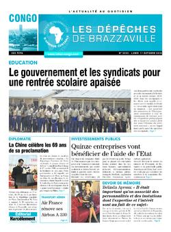 Les Dépêches de Brazzaville : Édition brazzaville du 01 octobre 2018
